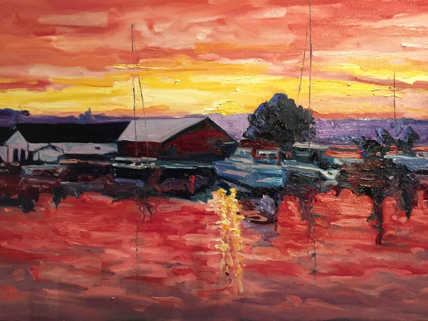 """Sunset at Meaford Harbour"" SOLD"